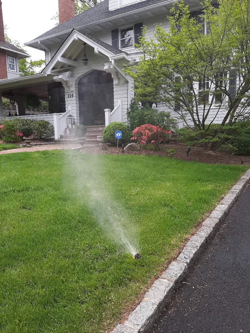 Spring start-up, irrigation sprinkler turn on. In Summit NJ
