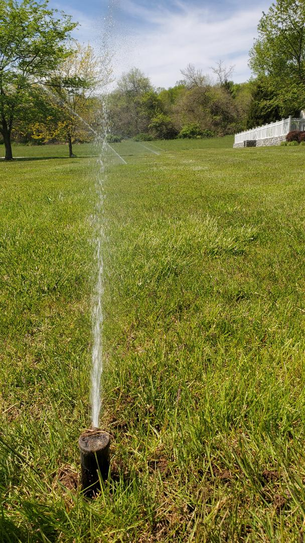 Check irrigation system and replace heads not rotating and provide estimate to add new zones
