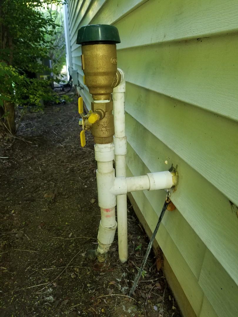 Repairing pvc backflow preventer hose bib boiler drain blowout port