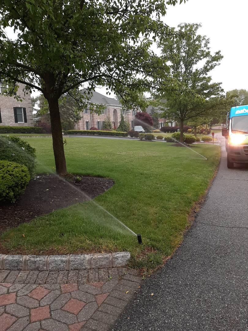Spring start-up, irrigation sprinkler turn on. In Wyckoff NJ