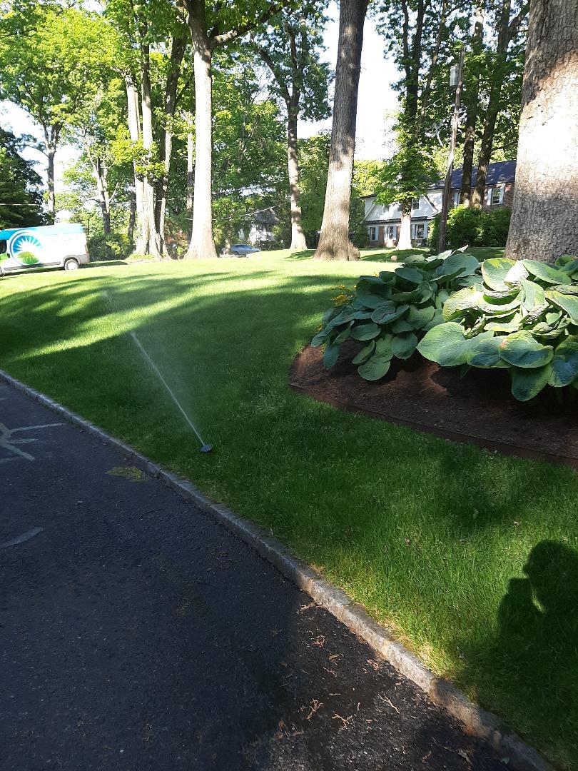 Spring start-up, irrigation sprinkler turn on. In Chatham NJ