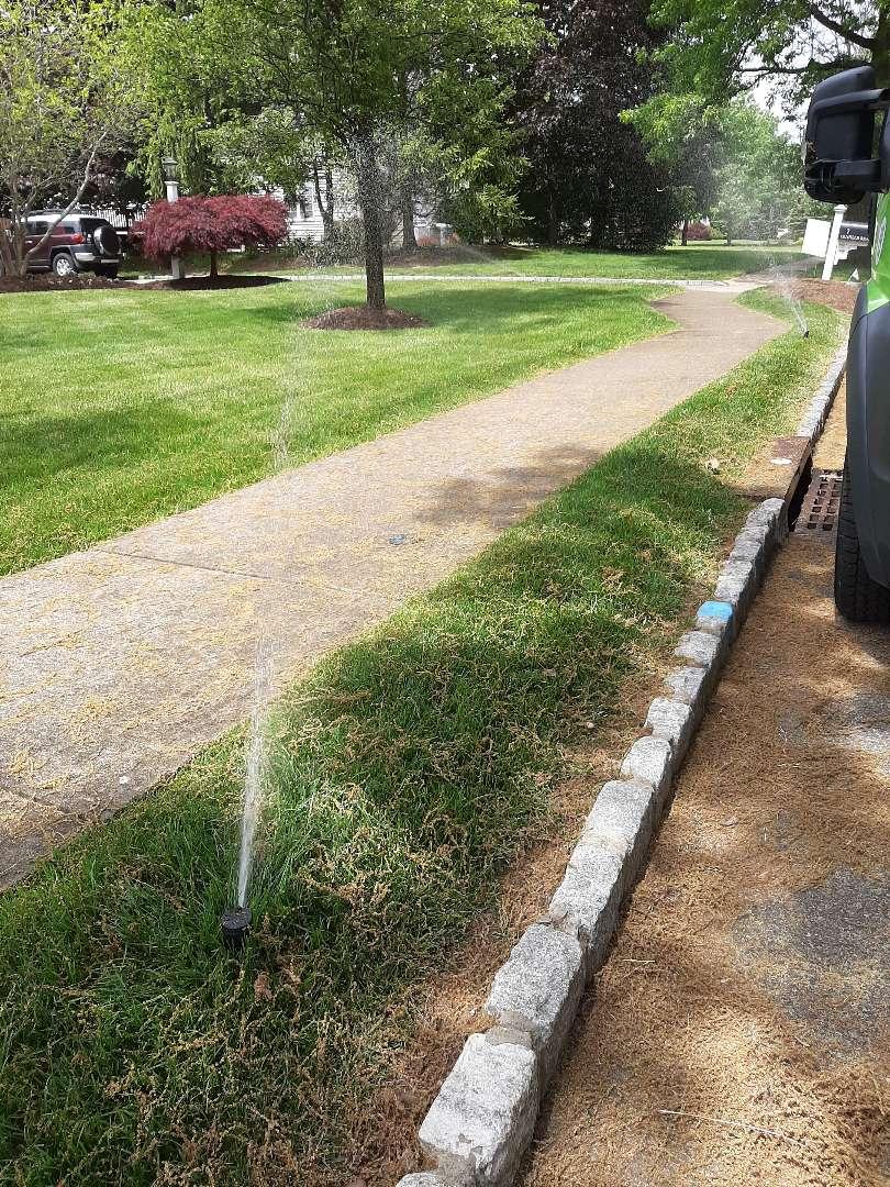 Spring start-up, irrigation sprinkler turn on. In Madison NJ