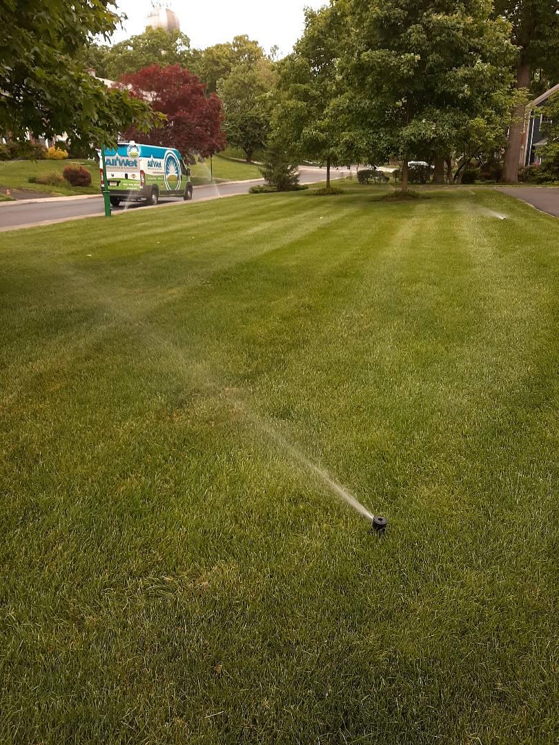 Spring start-up, irrigation sprinkler turn on. In South Orange NJ