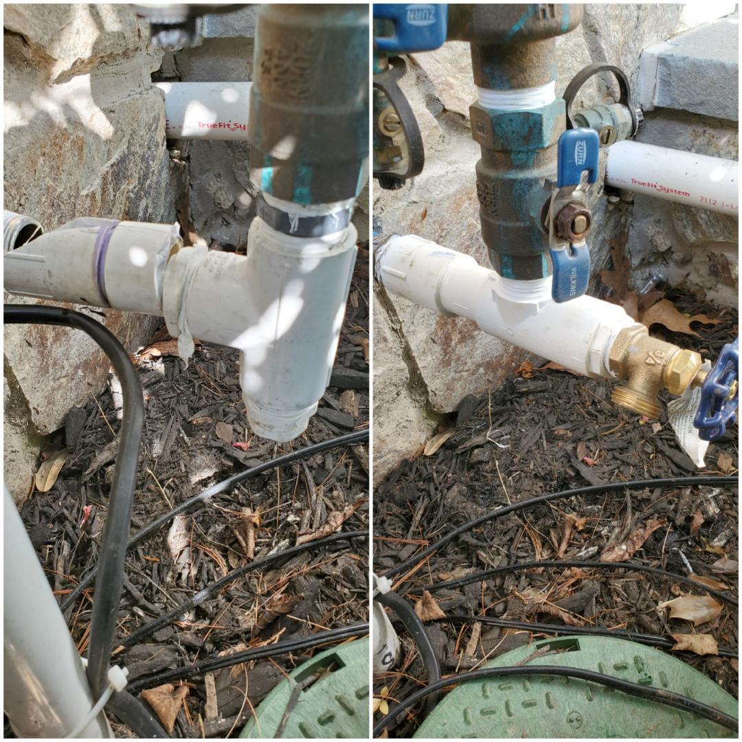 Repair pvc main at backflow