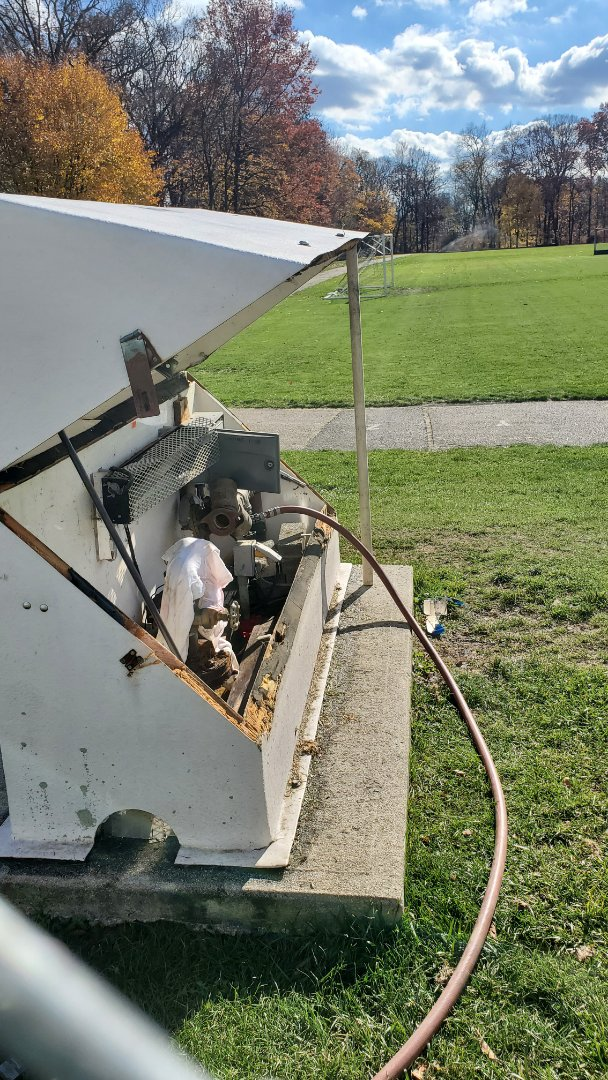 Blow out sprinkler system at a schools field