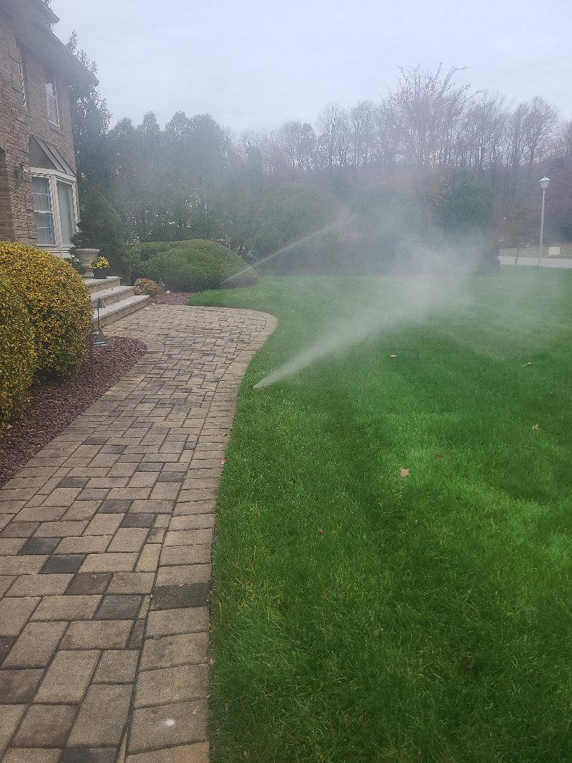 Winterize sprinkler irritation system. Blow out. Drain out. Shut down.