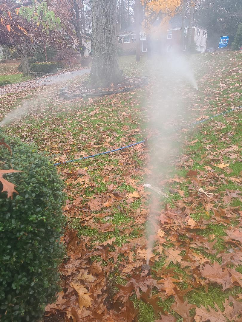 Chatham Township, NJ - Winterize sprinkler irritation system. Blow out. Drain out. Shut down.