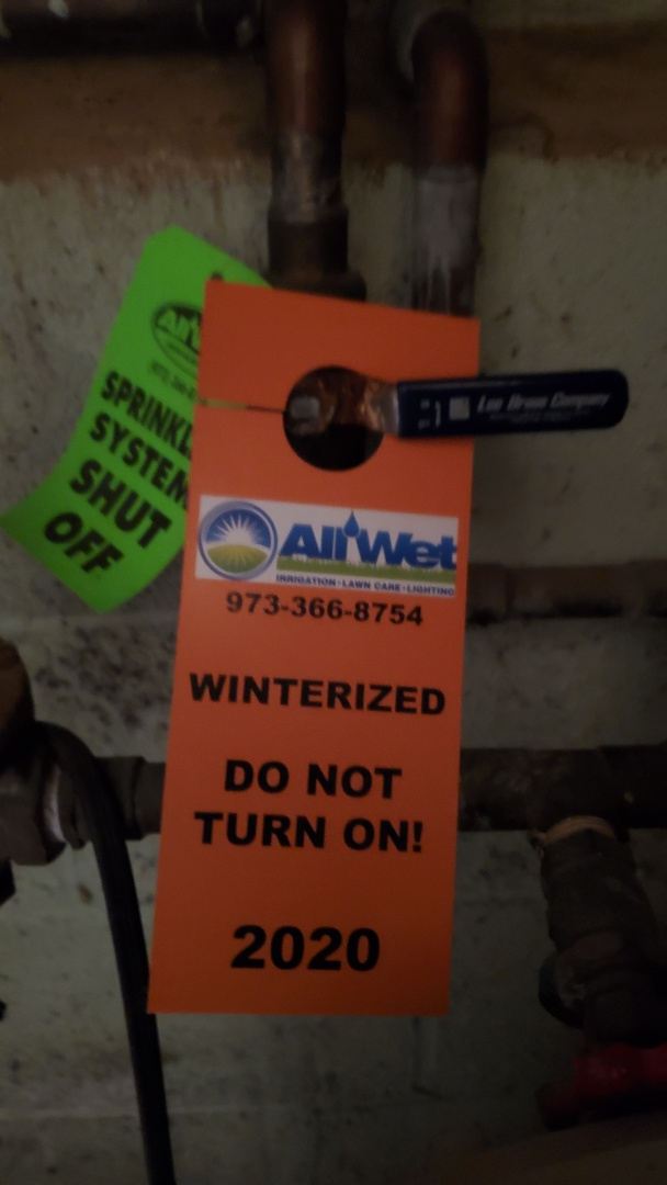 South Orange, NJ - Turn off irrigation system and blow out lines