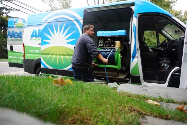Mountainside, NJ - Getting ready to winterize lawn sprinkler system.