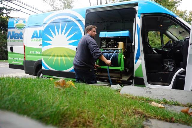 Nutley, NJ - Getting ready to winterize lawn sprinkler system.