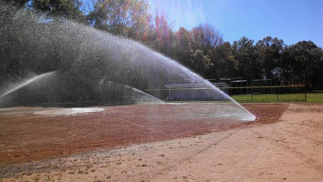 Hamburg, NJ - Getting ready to winterize lawn sprinkler system.