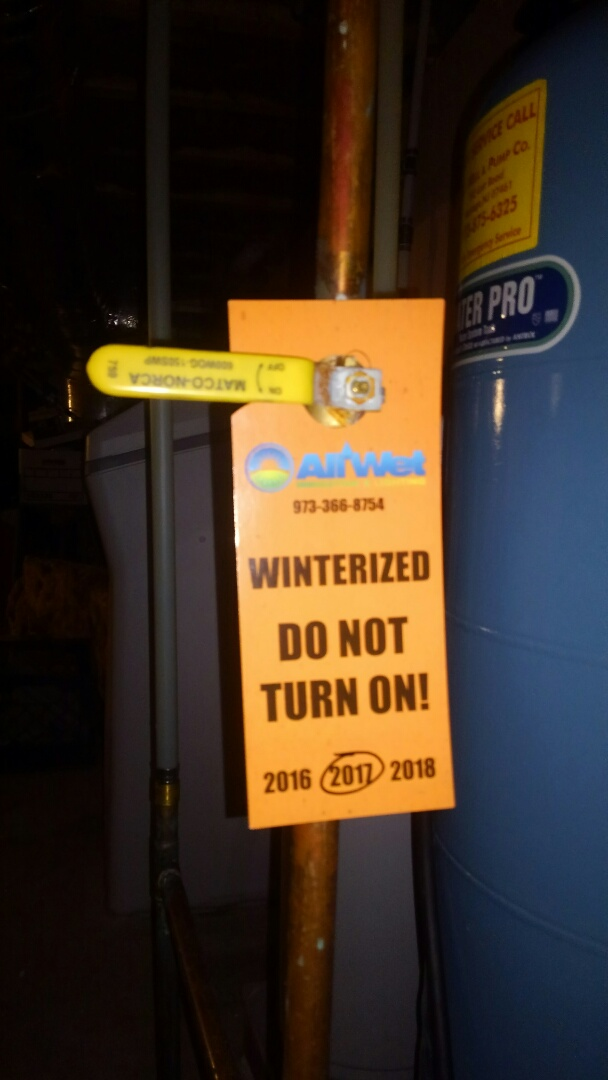 Branchville, NJ - Turn off sprinkler water and tag for winterizing system