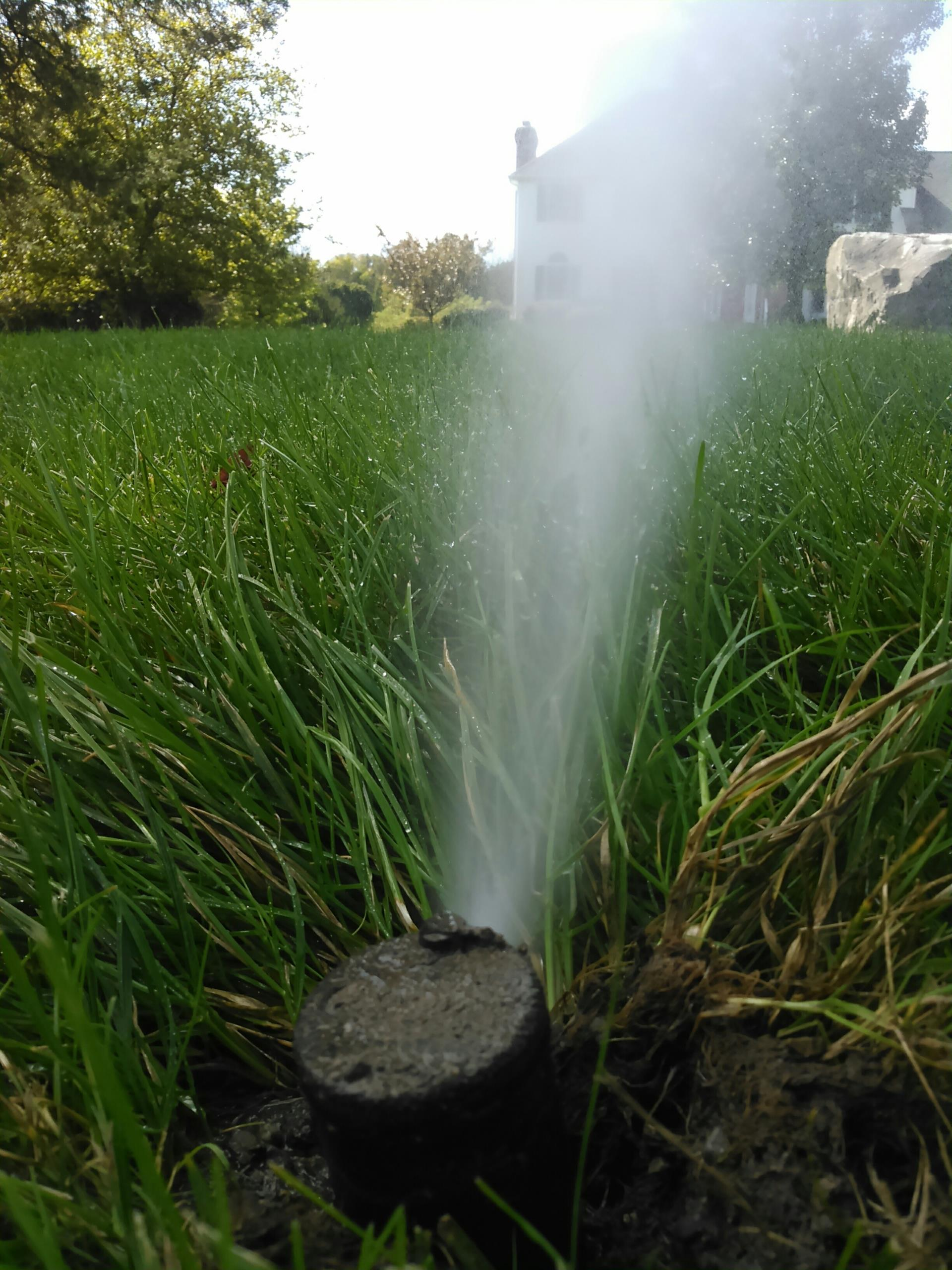 Blow out water of sprinkler system to prevent freezing damage on pipes and backflow during the winter