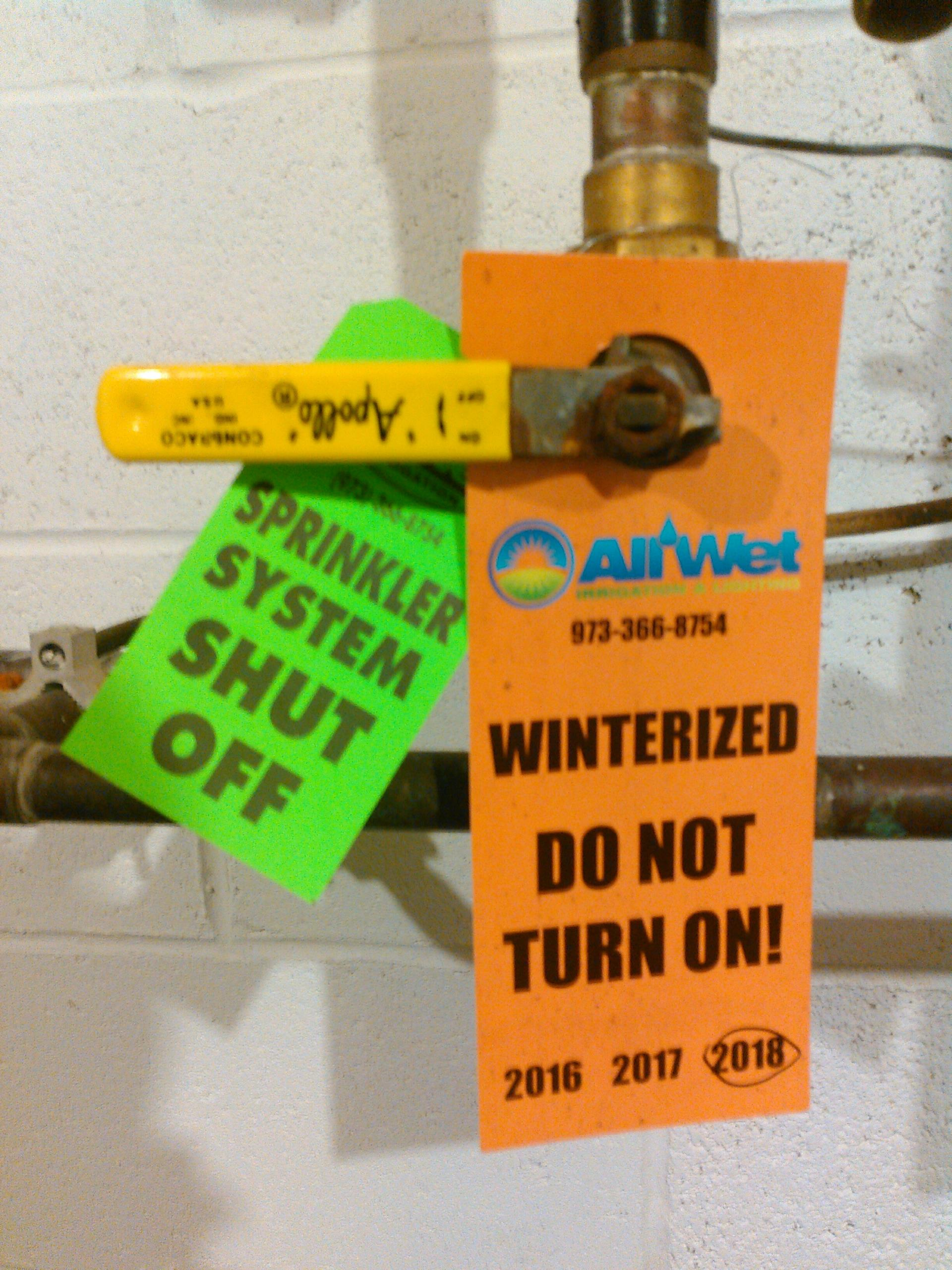 Vernon Township, NJ - Blow out water from irrigation system to avoid freezing damage on sprinkler heads, pipes & backflow device