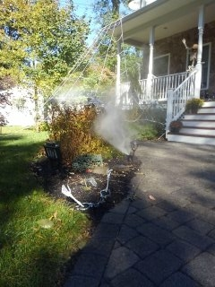 Pequannock Township, NJ - 5 station sprinkler system in the process of being blown out; Pompton Plains Winterizes!!!