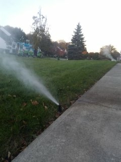 Hackettstown, NJ - 4 zone sprinkler blow out to start the day; Hackettstown Winterizes!!!