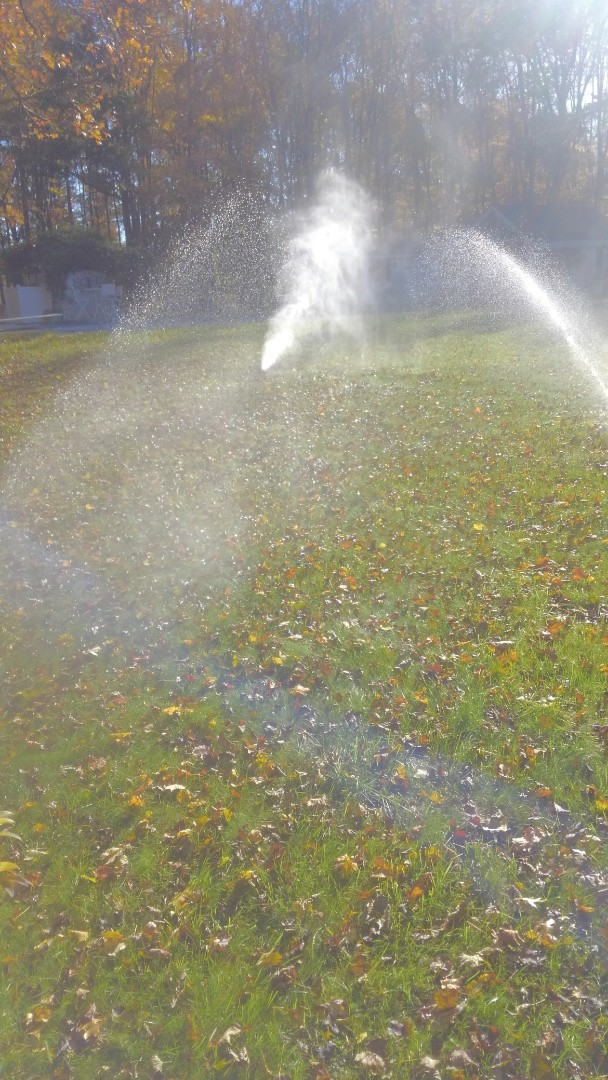 East Hanover, NJ - Blowing out the water of the sprinkler system