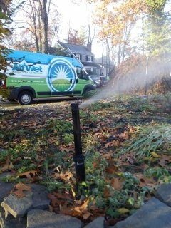 Chatham, NJ - 3 station sprinkler system being blown out to start the day; Chatham Winterizes!!!