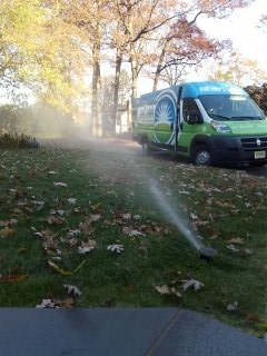 Chatham, NJ - 11 zone sprinkler system being blown out; Mendham Winterizes!!!