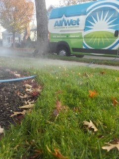 Chatham, NJ - 4 zone sprinkler system being blown out; Chatham Winterizes!!!