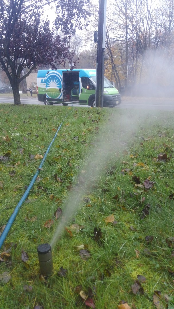 Turn off sprinklers and blow out lines