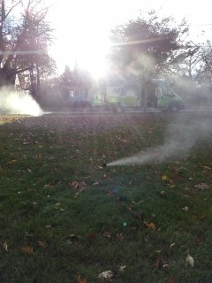 Madison, NJ - 9 zone sprinkler system being blown out; Madison Winterizes!!!
