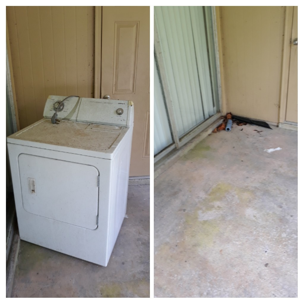 Removing washing machine from apartment complex