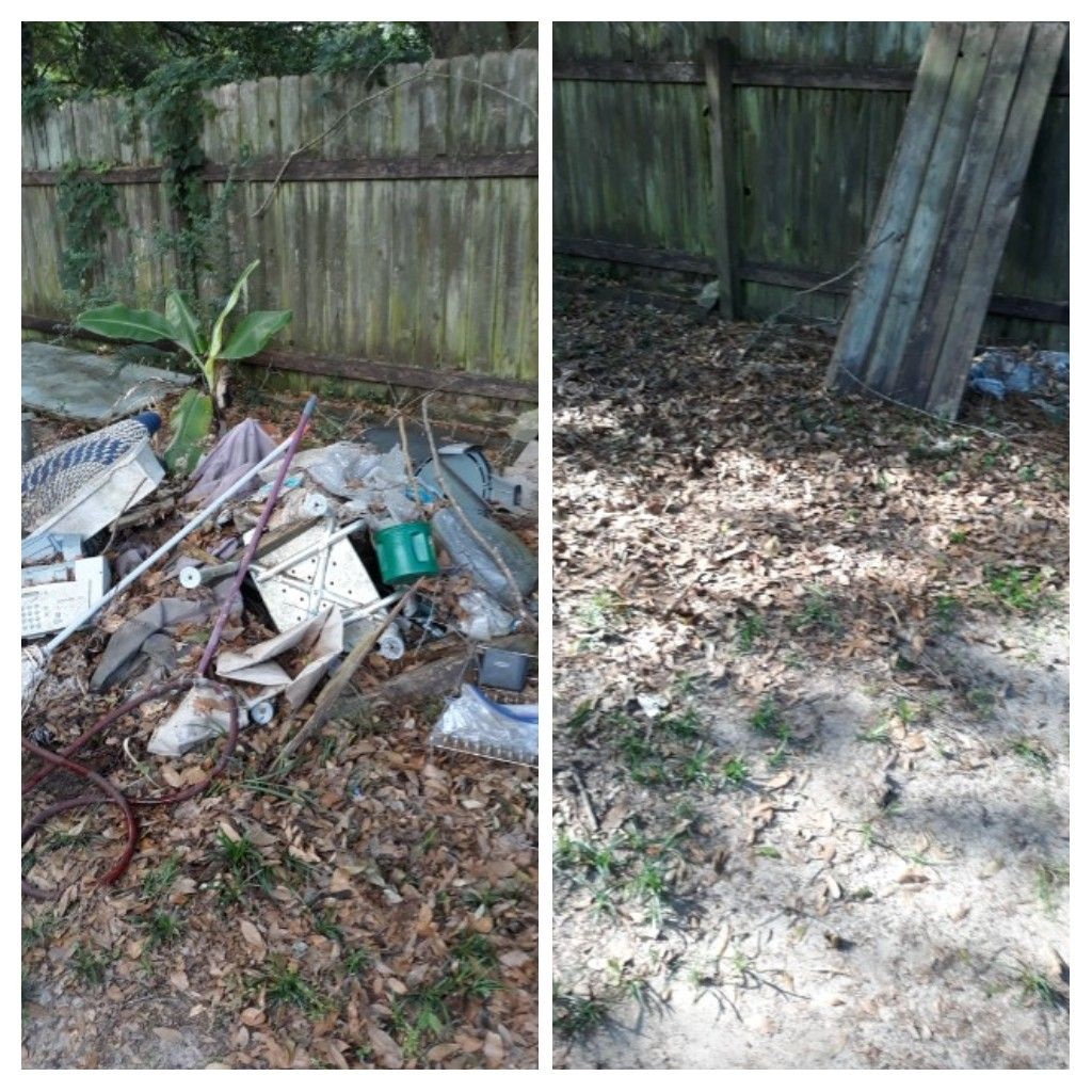 Removing trash out the backyard