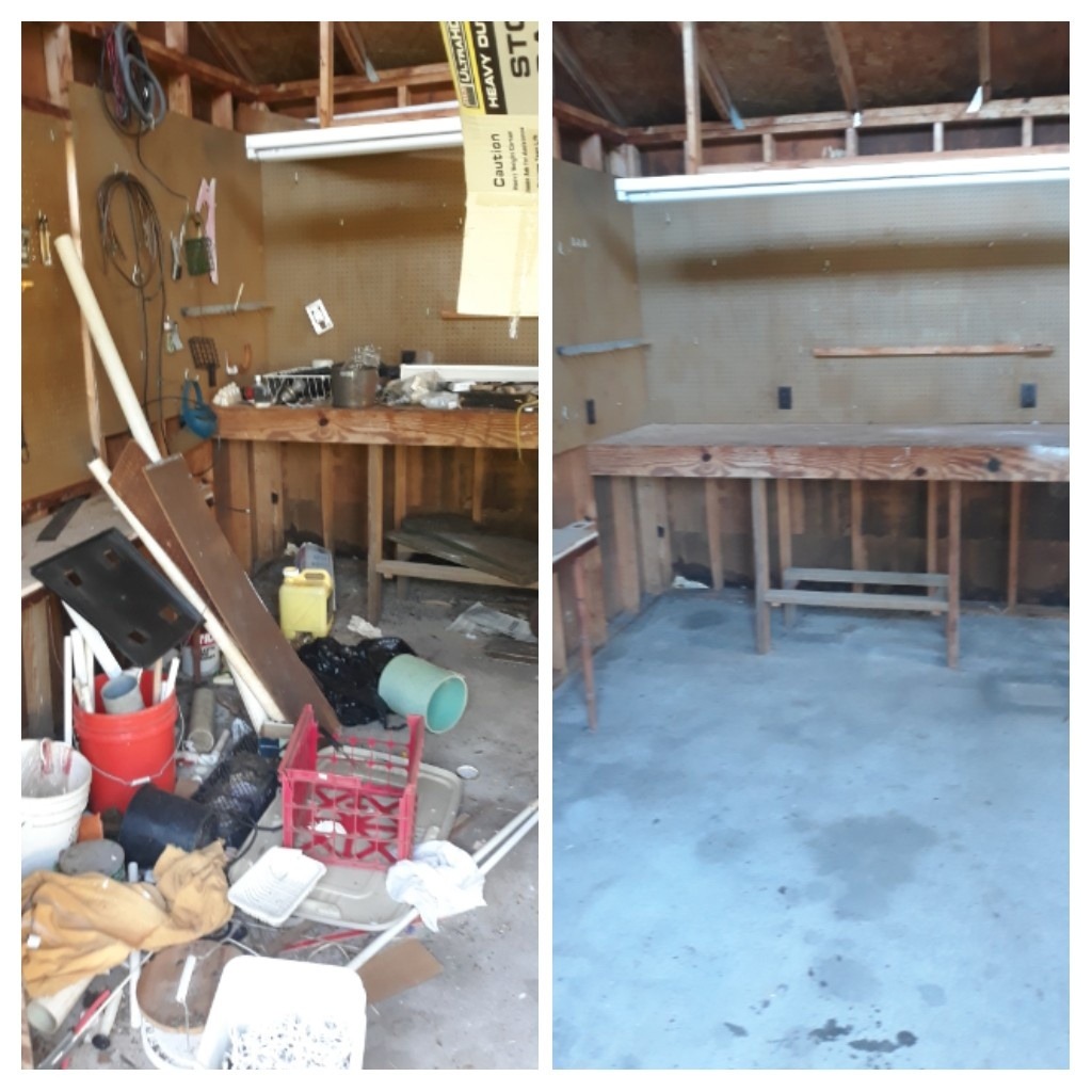 Doing a garage clean out getting ready all trash and debris