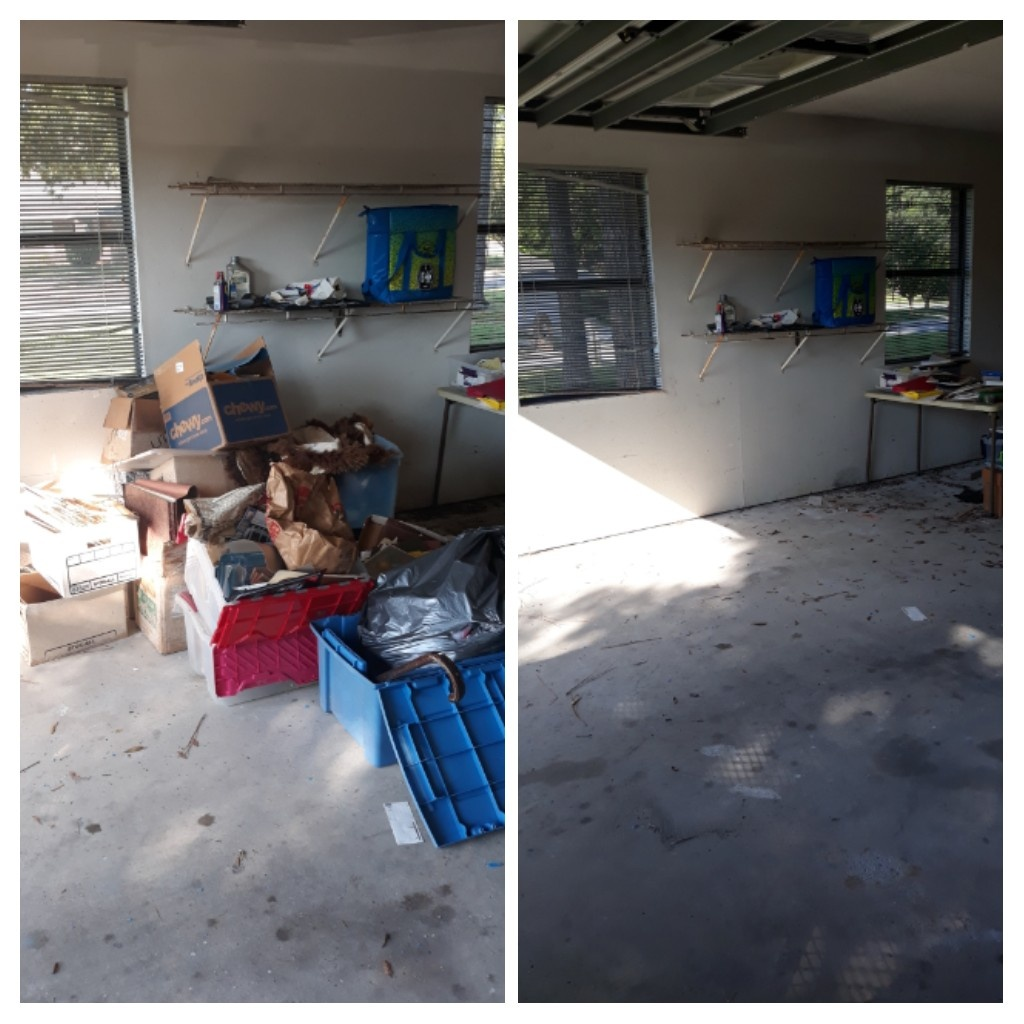 Remove trash and debris out of garage customer is moving