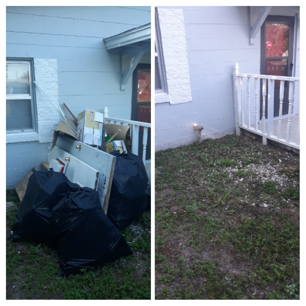 Early morning cleanup Removal trash and debris for a repeat customer
