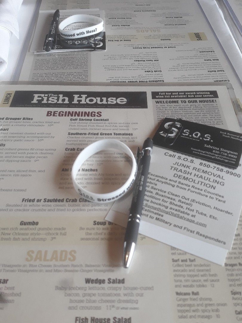 """Pensacola, FL - Presenting to the Pound group of The ONE about out Junk Removal and Trash Hauling business.  We can """"talk trash"""" all day.  Good food at The Fish House and fantastic views"""