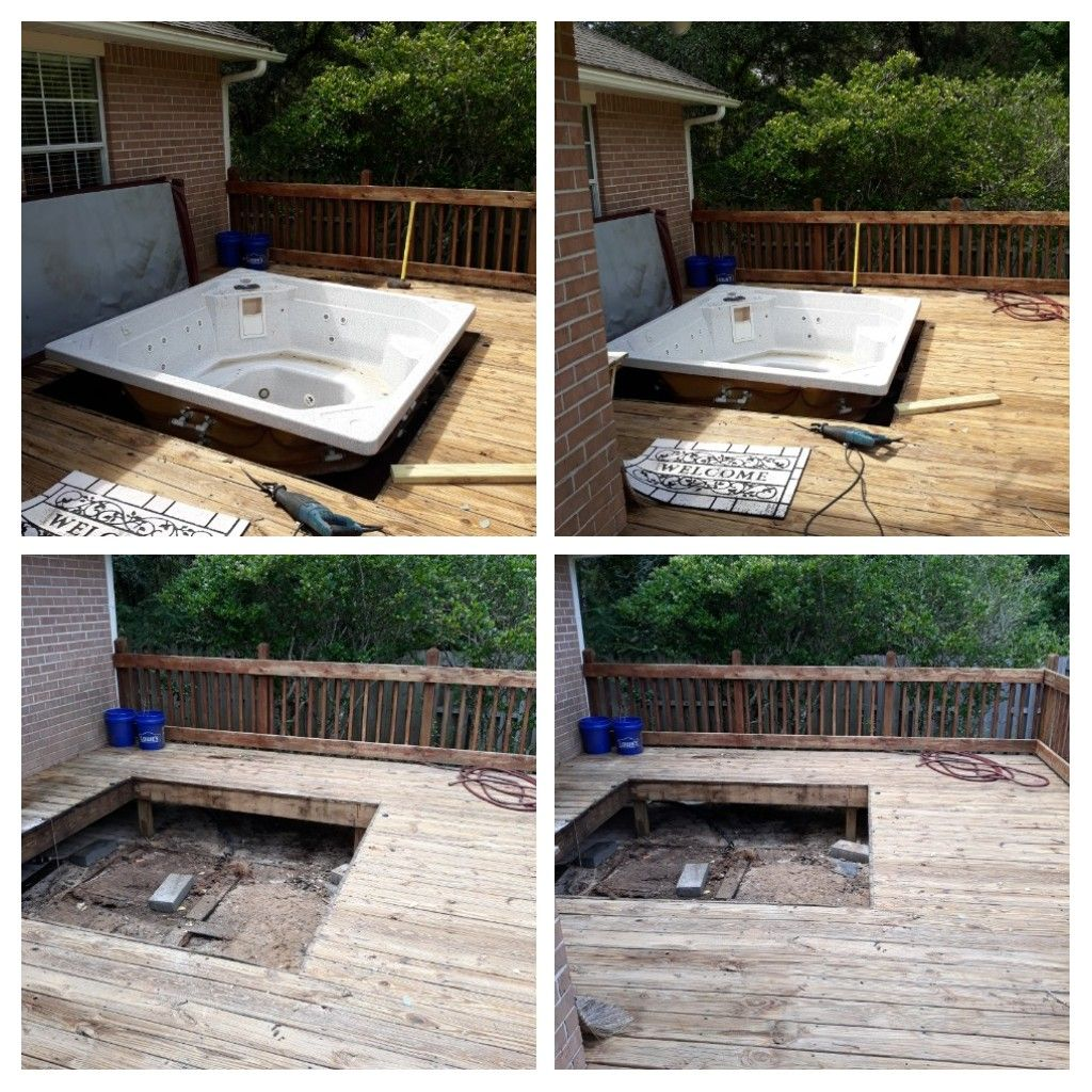 Remove a hot tub for a customer today customer was happy.