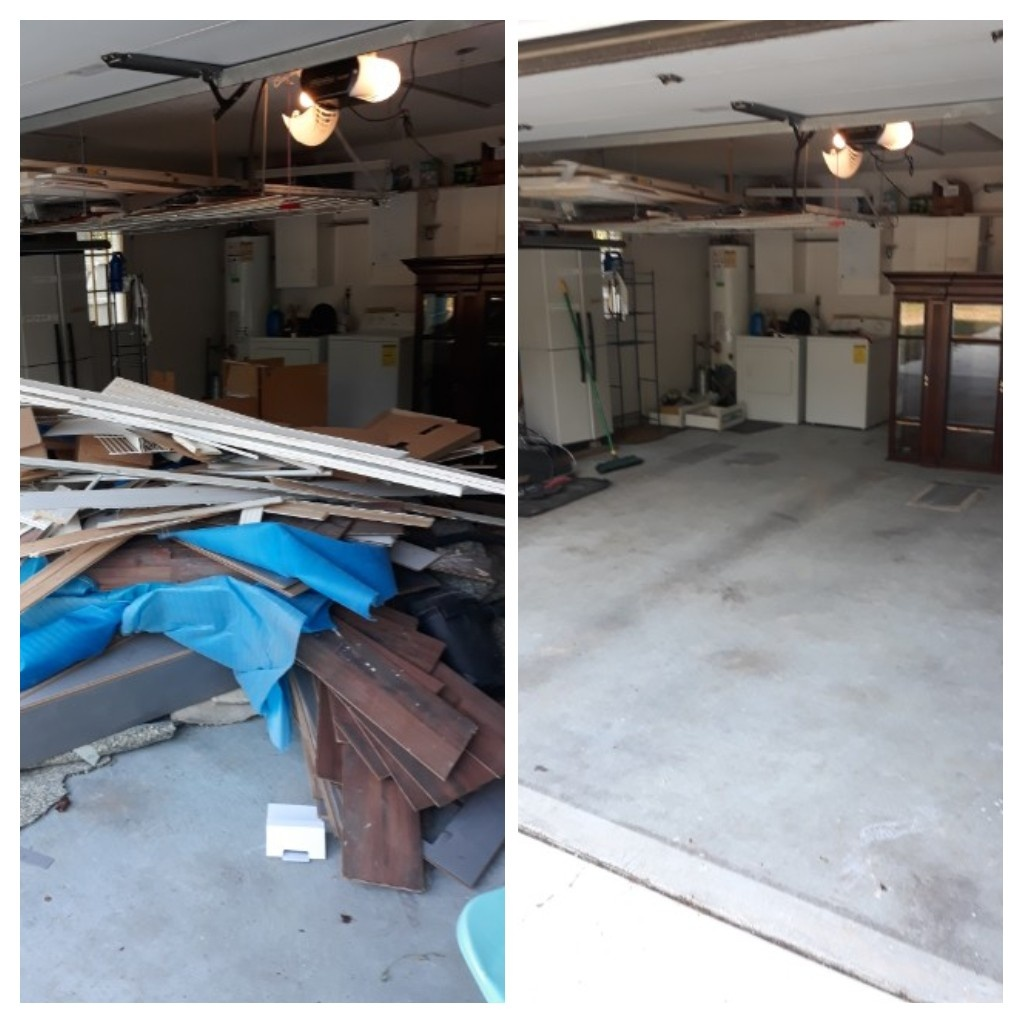 Good morning remove flooring and construction debris from a customer garage