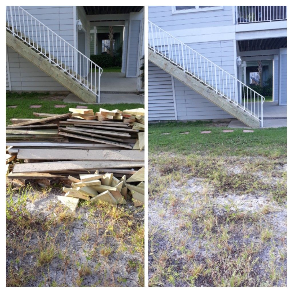 Remove wood and trash debris this morning for a customer.
