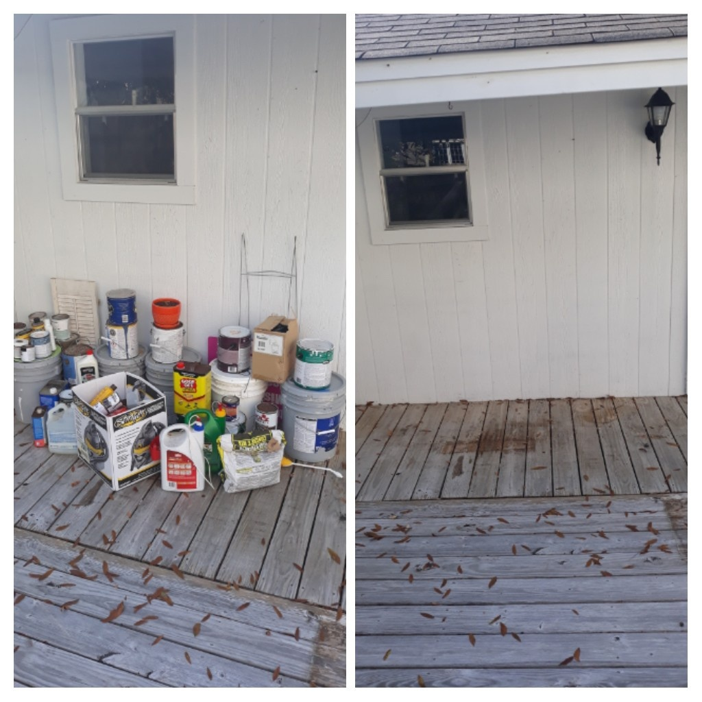 Good morning remove paint and wood and other debris from the customer home