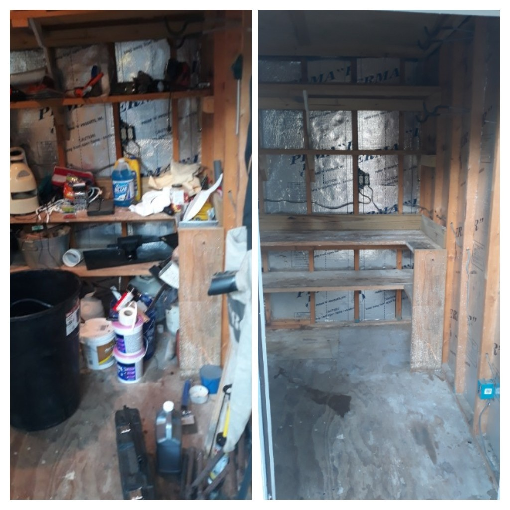 Cleanout a shed this morning removed trash and paints for the customer