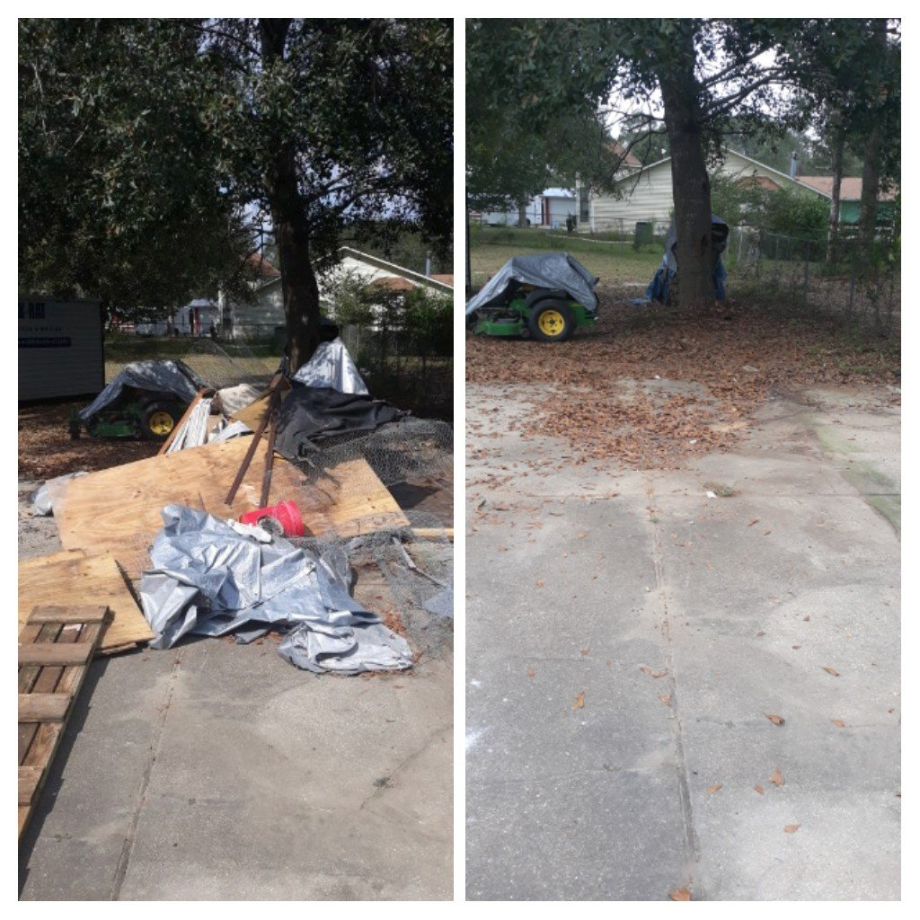 Remove a lot trash debris from yard and a lot of old carpet