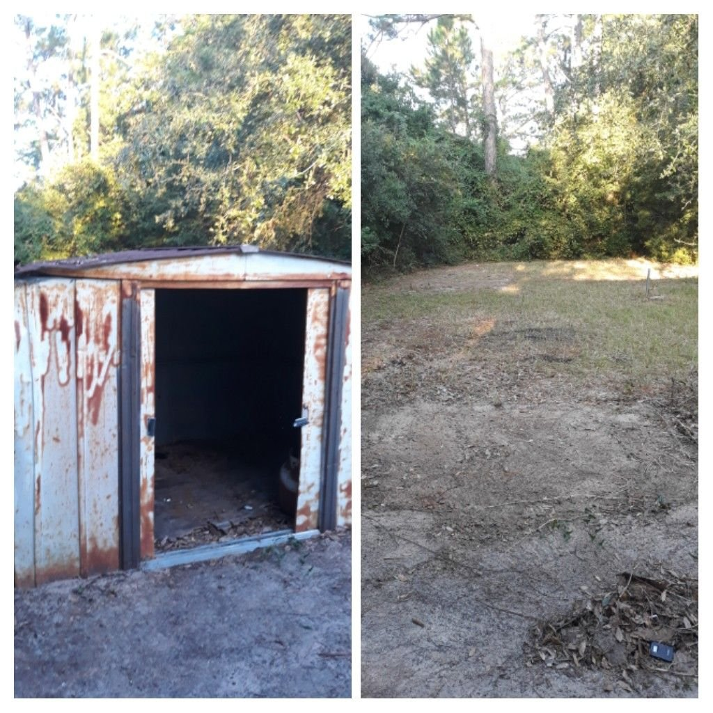Remove a old metal shed for a customer