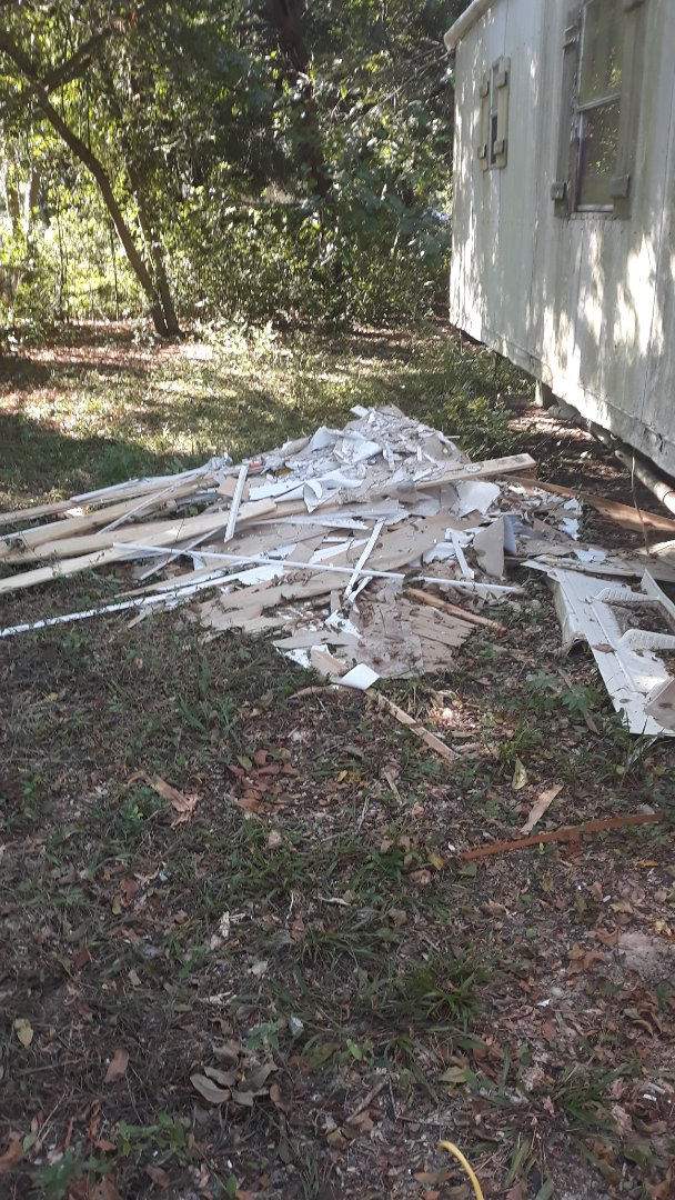 Remove trash debris and wood and other debris from customer yard