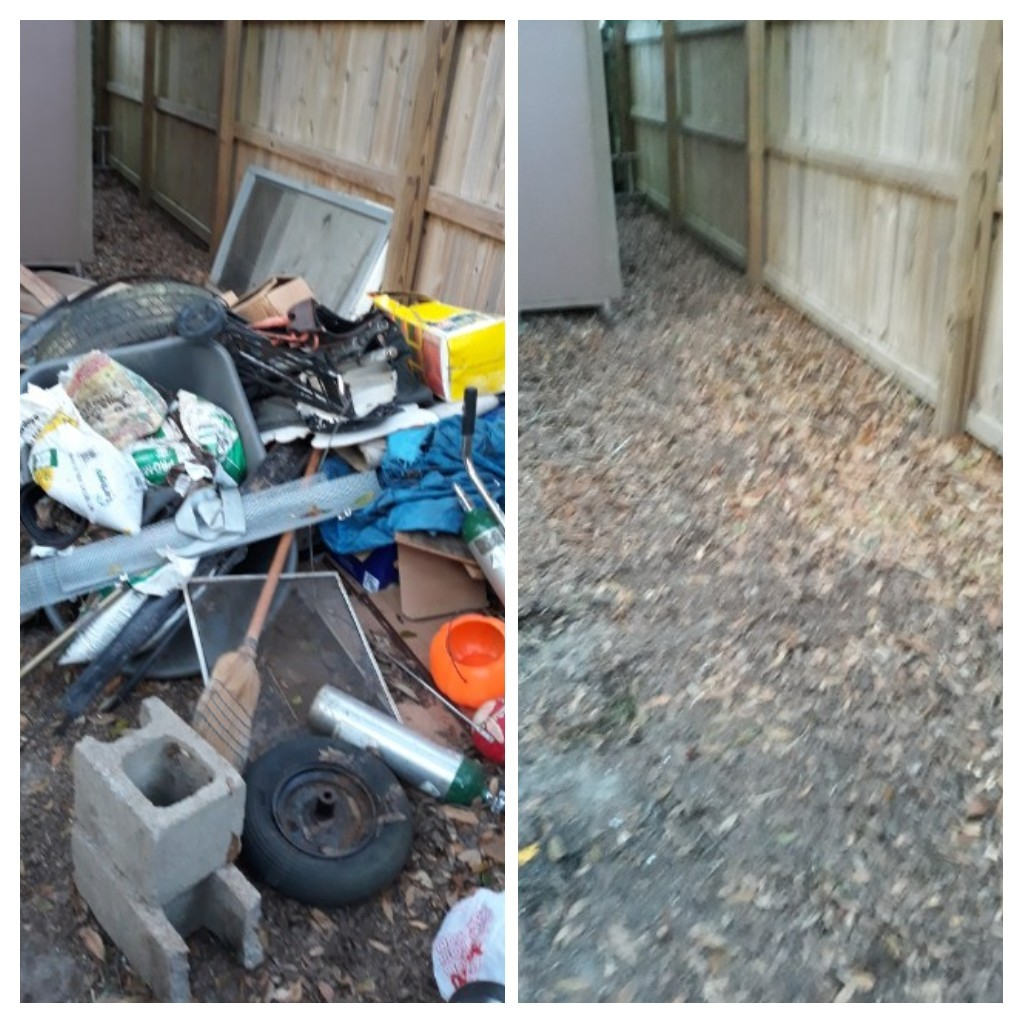 Got a call to remove old wood and other trash debris from customer backyard and garage today