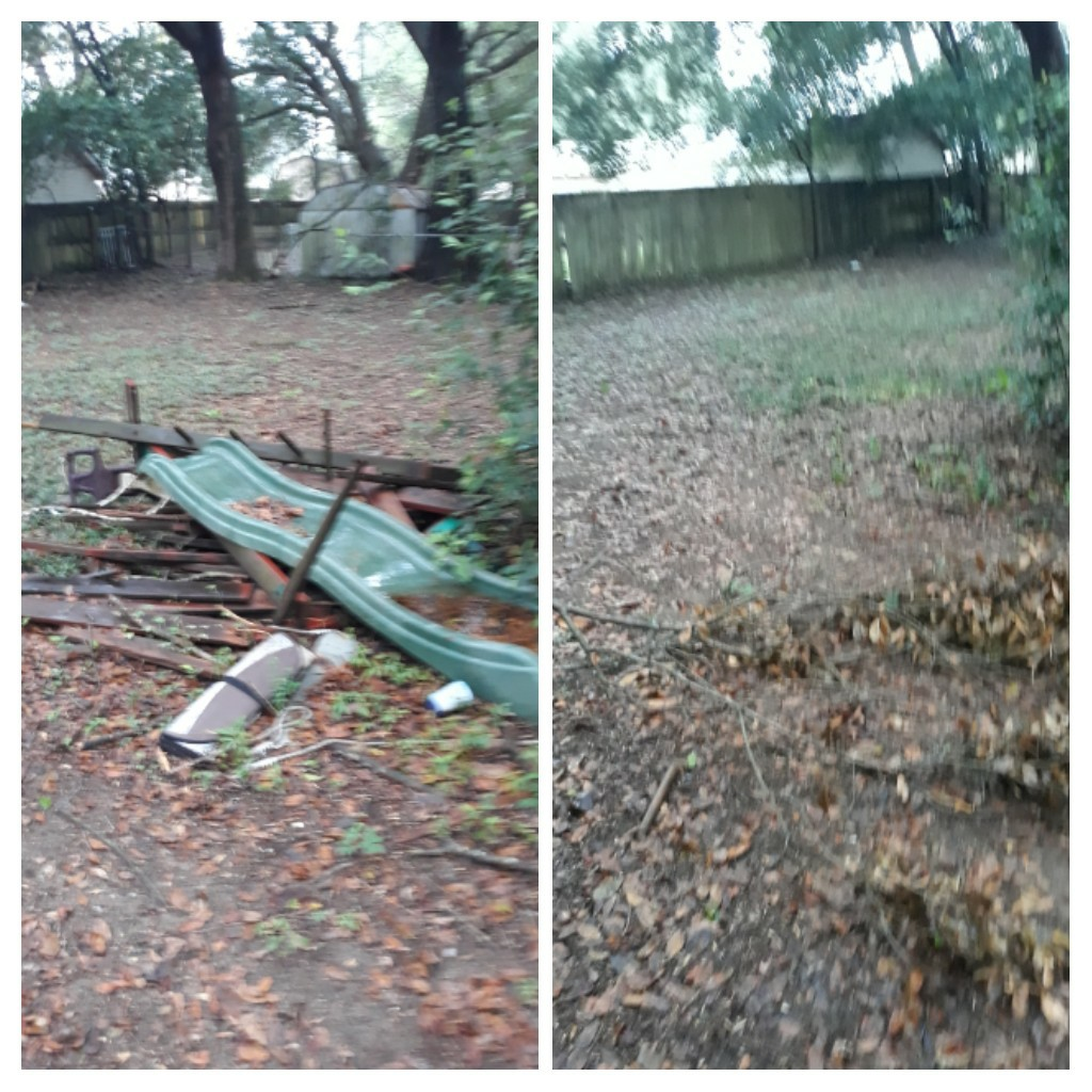 Remove a old wooden swing and other trash debris from customer backyard
