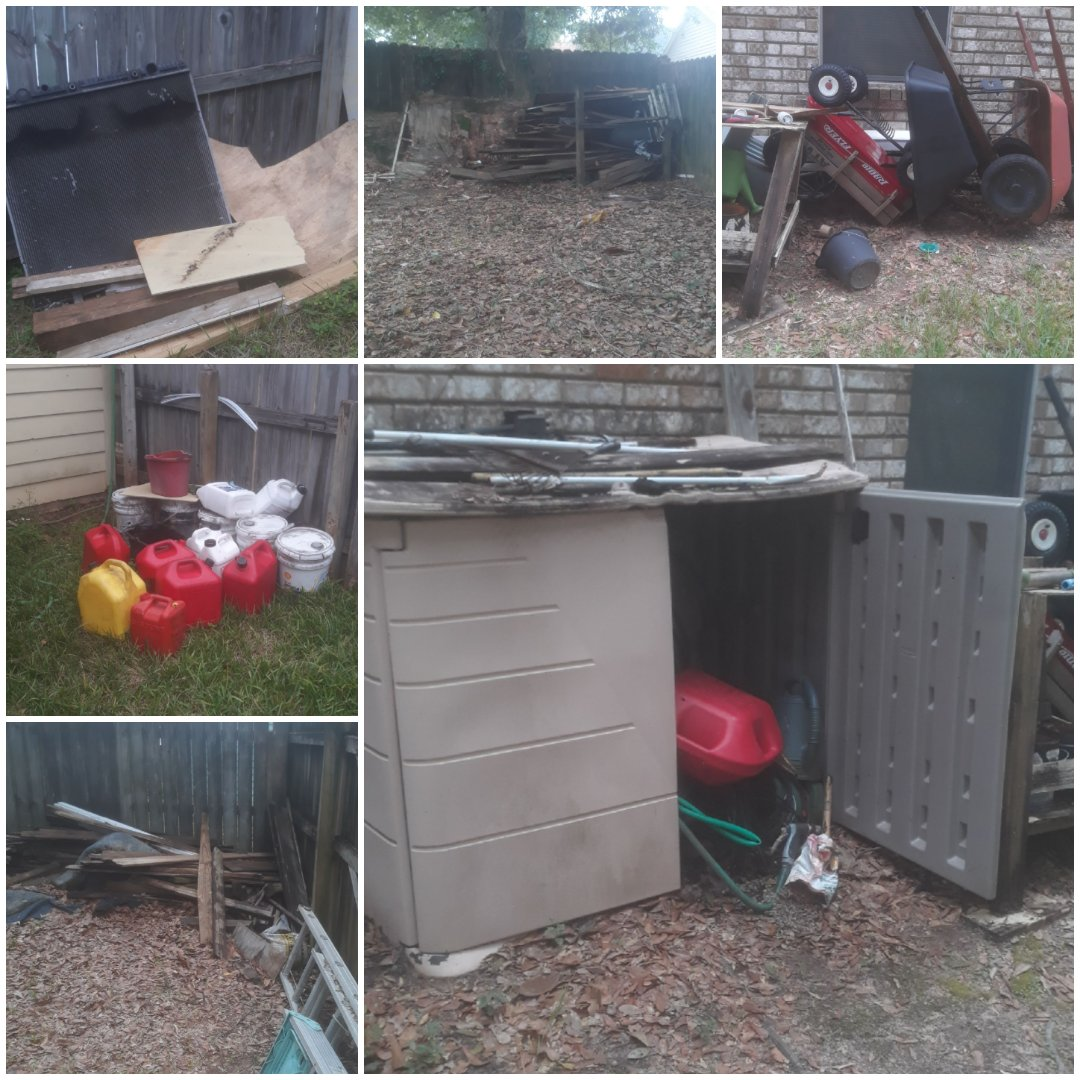 Junk and trash removal quote in Pensacola for out of town client.  Lots of wood, furniture, gas jugs and other items to be hauled away.