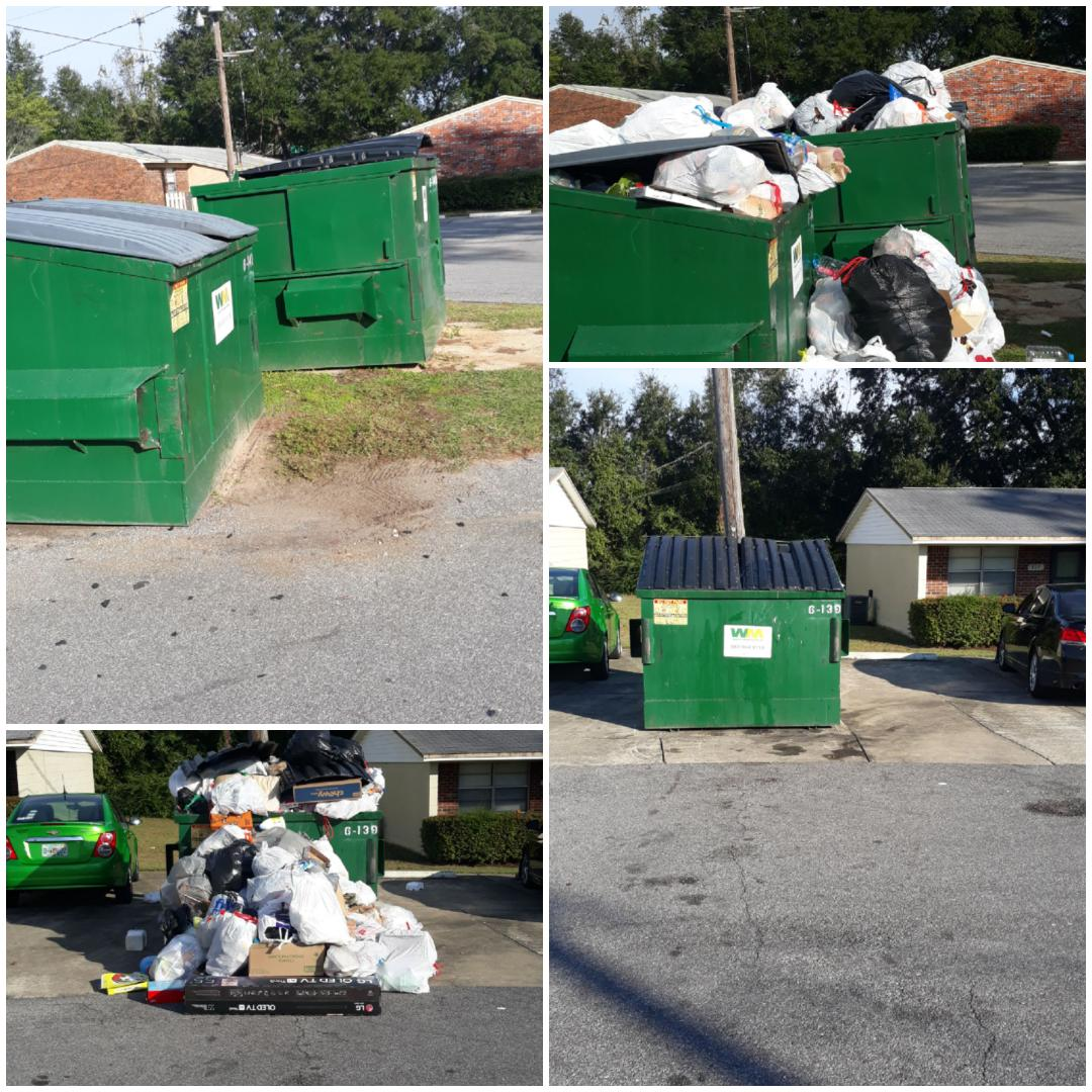 Clean up around location apartment complex dumpster here in Pensacola Fl