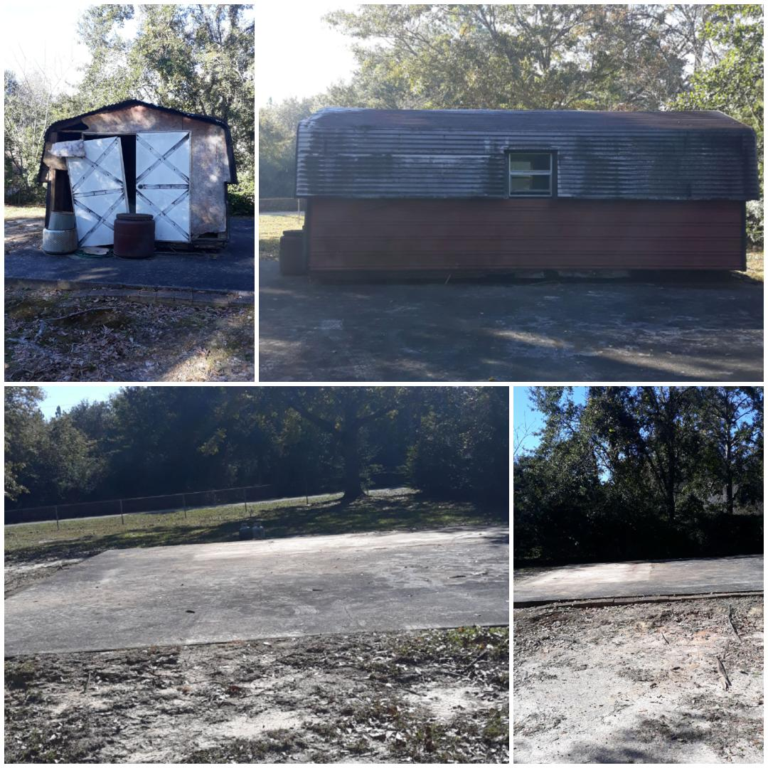 Remove a shed and other trash debris here in Milton Fl