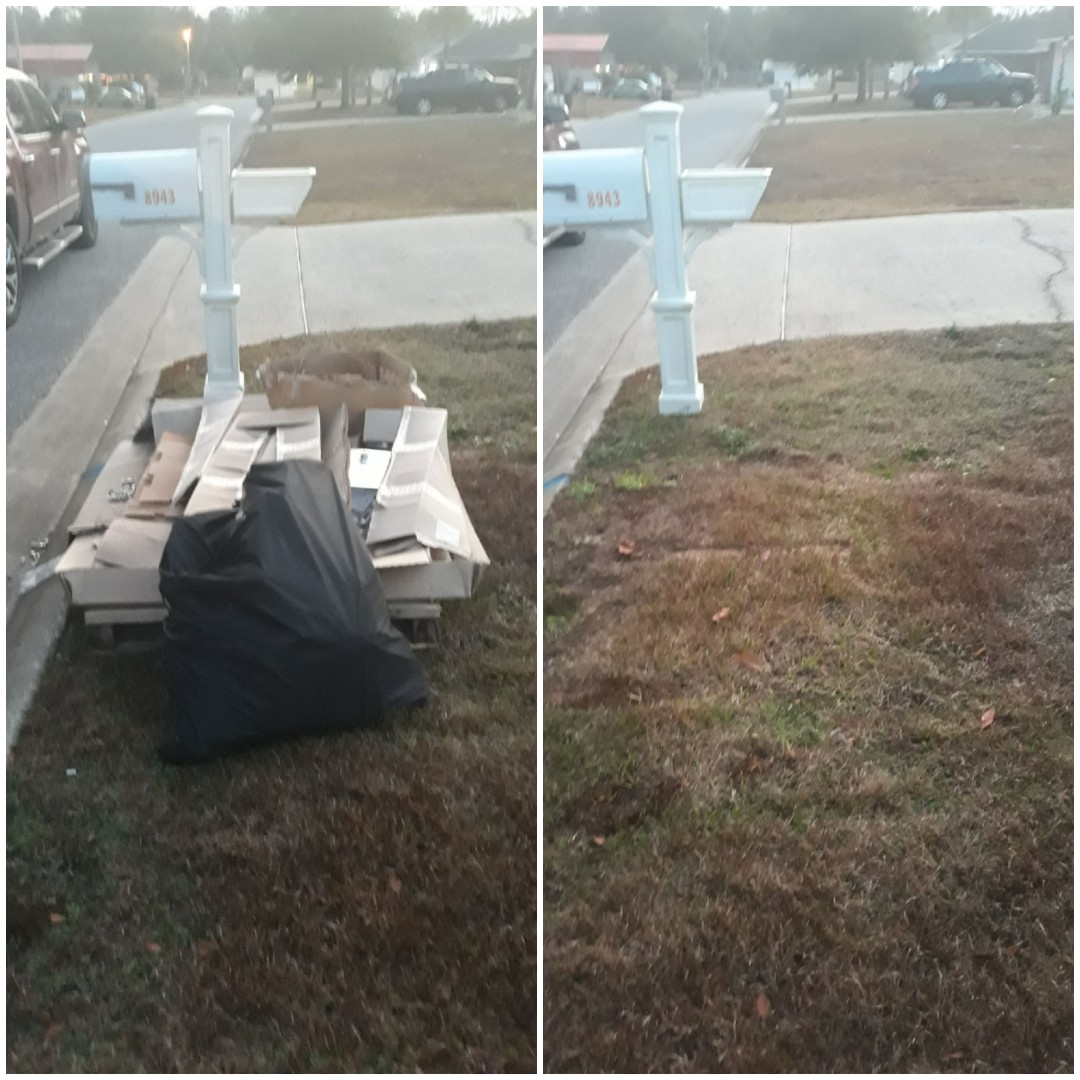 early morning pick up over here in East Milton removing trash and boxes for customer
