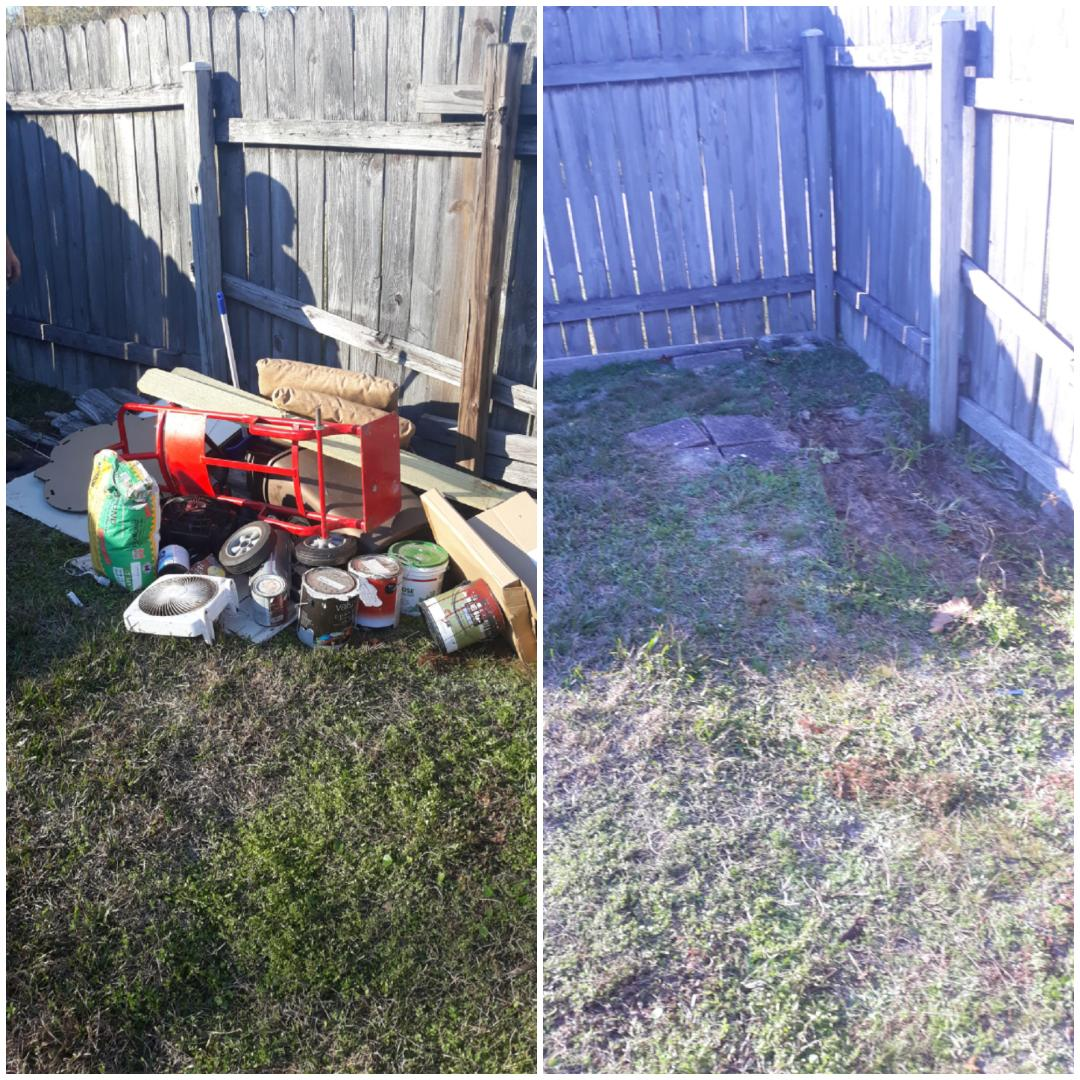 Remove some trash debris from a customer backyard today