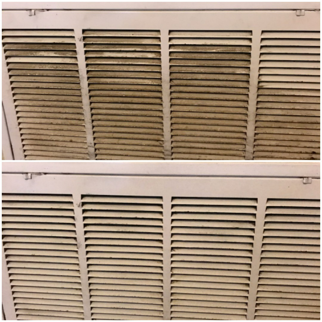 Deep cleaning townhouse in Milton for property manager.  Before and after of AC vent cleaning.  Removed all the gunk and dust built up on unit.