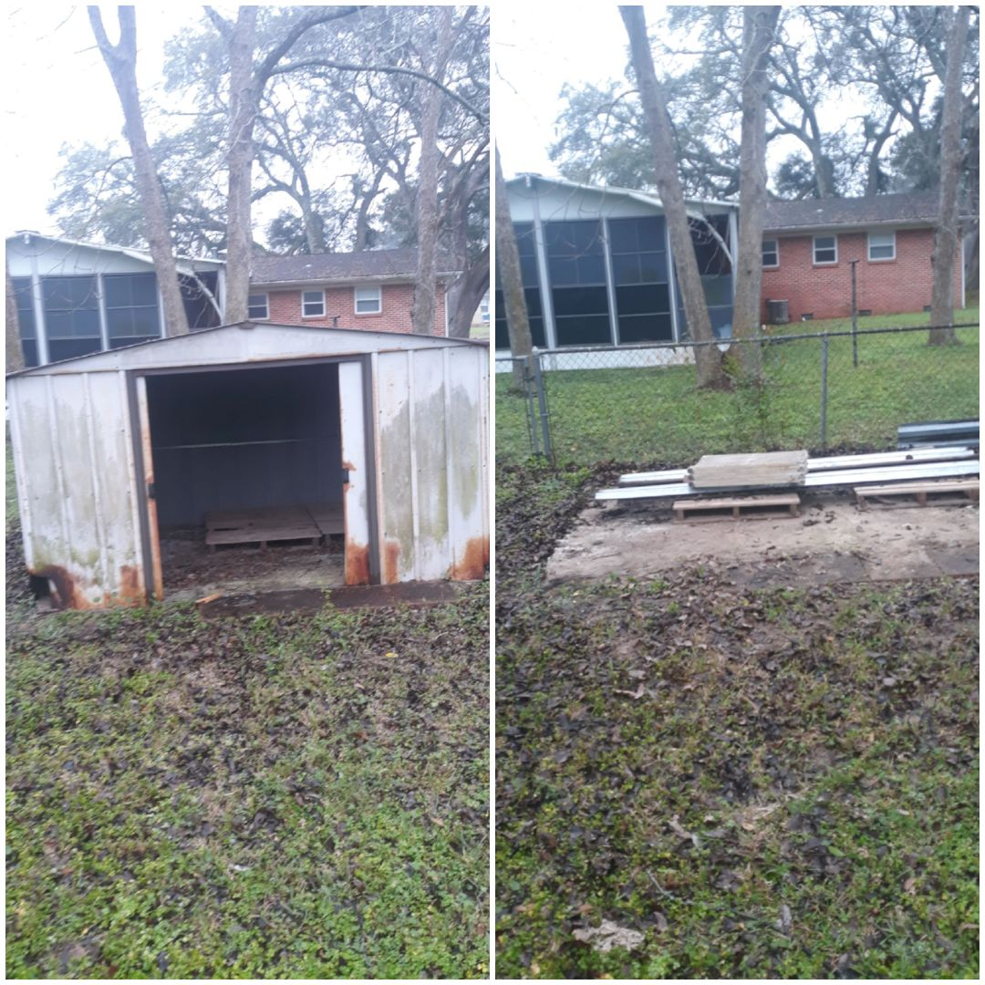 A shed removal this morning for a customer here in Pensacola fl