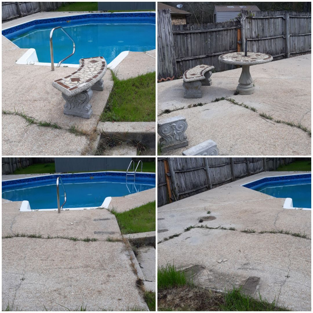 Remove concrete bench and other pieces for a customer today